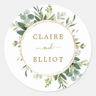 Botanical Gold Greenery Wedding Classic Round Sticker