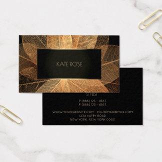 Botanical Golden Foil  Black Champaign Frame Vip Business Card
