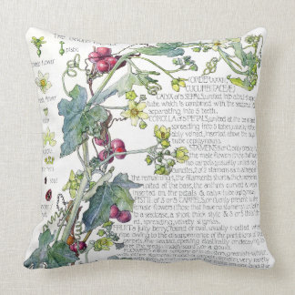 Botanical Gourd Blossoms Flowers Throw Pillow