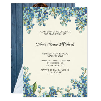 Botanical Graduation Party Photo Invitation Blue
