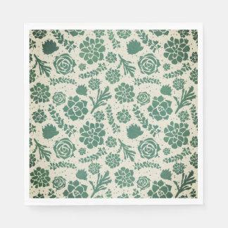 Botanical Green Succulents in Natural Garden Paper Napkins