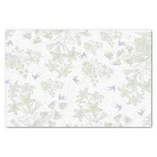 Botanical green vintage elegant floral gray birds tissue paper