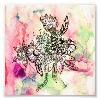 Botanical handdrawn abstract watercolor paint photo