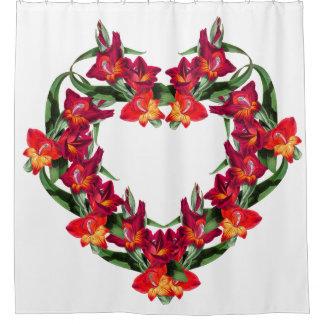 Botanical Heart of Gladiola Flowers Shower Curtain