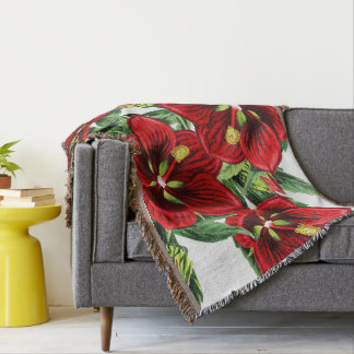 Botanical Hibiscus Flowers Floral Throw Blanket