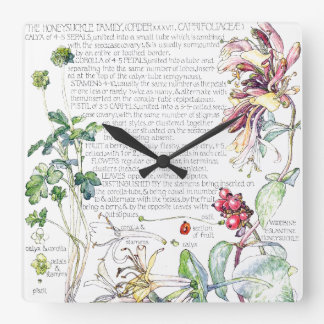 Botanical Honeysuckle Flowers Floral Wall Clock