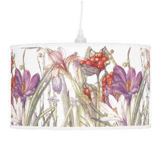 Botanical Iris Crocus Flowers Floral Lamp