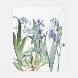Botanical Iris Flowers Floral Garden Fleece Blanket
