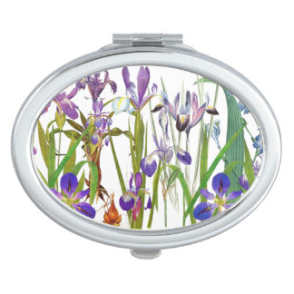 Botanical Iris Flowers Floral Garden Vanity Mirror