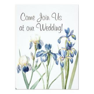 "Botanical Iris Flowers Floral Garden Wedding 6.5"" X 8.75"" Invitation Card"