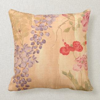 Botanical Japan Wisteria Rose Flower Floral Pillow