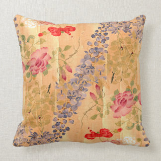 Botanical Japan Wisteria Rose Flower Floral Pillow