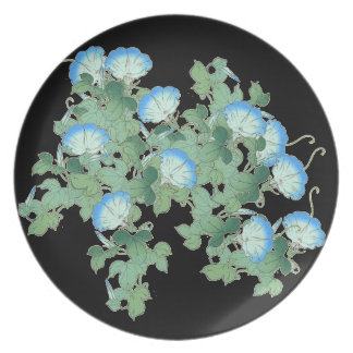 Botanical Japanese Morning Glory Flowers Floral Party Plate