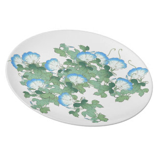 Botanical Japanese Morning Glory Flowers Floral Plate
