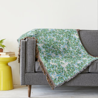 Botanical Japanese Morning Glory Flowers Floral Throw Blanket