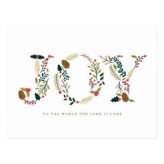 Botanical Joy Christmas Greeting Postcard