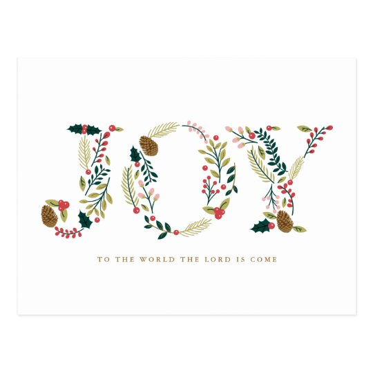 Botanical Joy Christmas Greeting Postcard