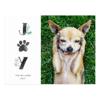 Botanical Joy Paw Print | Pet Holiday Photo Post Postcard