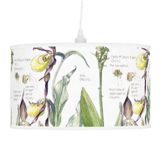 Botanical Lady Slipper Orchid Flowers Floral Lamp