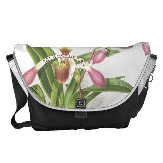Botanical Ladys Slipper Orchid Flowers Floral Messenger Bags