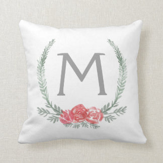 Botanical Laurel Wreath Monogram Throw Pillow