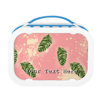 Botanical Leaves On Pink Background Lunch Boxes