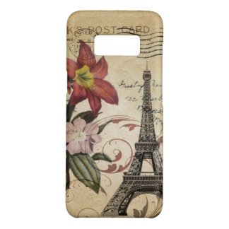 Botanical Lily vintage scripts Paris Eiffel Tower Case-Mate Samsung Galaxy S8 Case