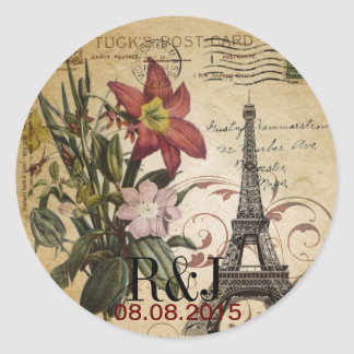 Botanical Lily vintage scripts Paris Eiffel Tower Classic Round Sticker