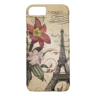 Botanical Lily vintage scripts Paris Eiffel Tower iPhone 8/7 Case