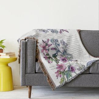 Botanical Mallow Flowers Described Throw Blanket