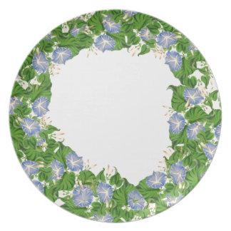 Botanical Morning Glory Flower Floral Garden Plate