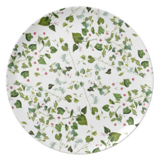 Botanical Morning Glory Flowers Floral Leaves Dinner Plates
