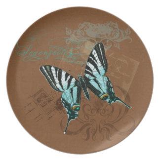 Botanical Moth Vintage Postage Stamps Swirls Brown Dinner Plates