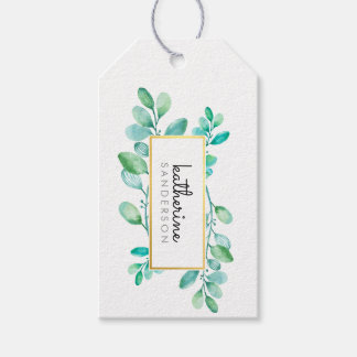 BOTANICAL NATURE modern watercolor painted leaves Pack Of Gift Tags