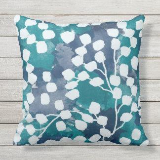 Botanical Outdoor Pillow, Blue Outdoor Pillow