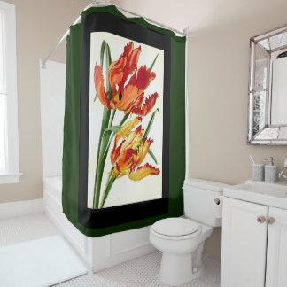 Botanical Parrot Tulip Flowers Shower Curtain