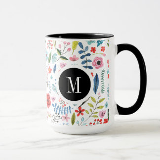 Botanical Pattern Cute Colorful Leafs And Flowers Mug