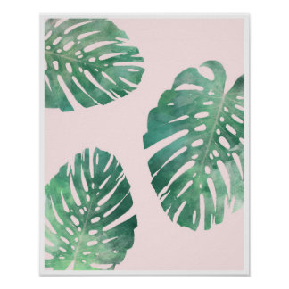 Botanical pink and green monstera leaf poster