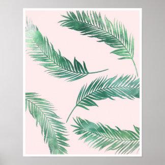 Botanical pink and green nature poster print