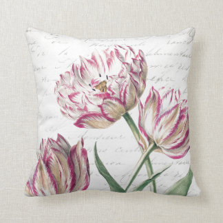 Botanical Pink and White Tulip Illustration Throw Pillow