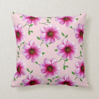 Botanical Pink Dahlia Flower on any Colour Throw Pillow