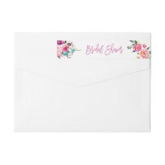 Botanical Pink Purple Floral Bridal Shower Wrap Around Label
