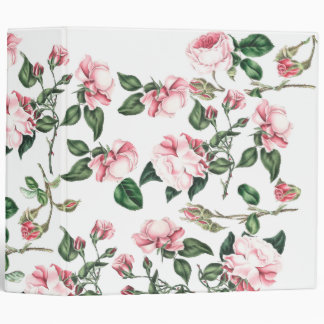 Botanical Pink Rose Flowers Floral Vinyl Binders
