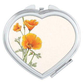 Botanical Poppy Flowers Floral Compact Mirror