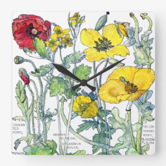 Botanical Poppy Flowers Floral Wall Clock