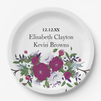 Botanical purple violet flower bouquet wedding paper plate