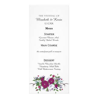 Botanical purple violet flower bouquet wedding rack card