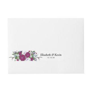 Botanical purple violet flower bouquet wedding wraparound address label