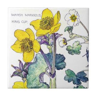 Botanical Ranunculus Wildflower Flowers Tile