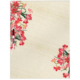 Botanical Red Amarylis Flowers Dry Erase Board